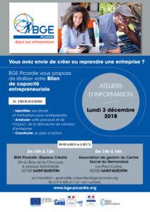 Affiche ateliers d'information bilan de capacité entrepreneuriale le 3 décembre à Saint-Quentin